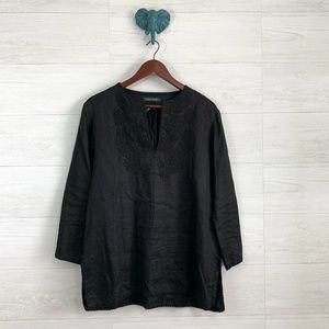 LRL 100% Linen Black Embroidered Tunic Top